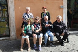 In the Jewish Ghetto (from 1540-1870) Helen, Val, Elaine & Alison talking to some old Jews who live in the area