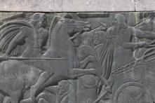 Depiction of Alexander facing off Darius in Battle of Issus