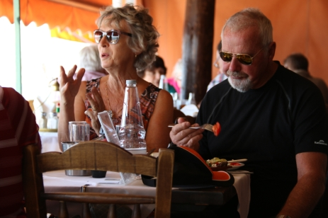 "Gary and Cheryl enjoying an ancient recipe - Greek Salad. ""Oo says Cheryl"" , while Gary savors the tastie tomato"