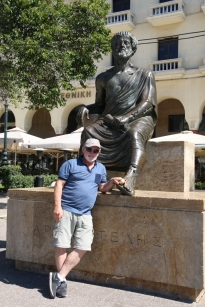 Garry poses with Aristotle, wile rubbing his big toe. Helps him to think