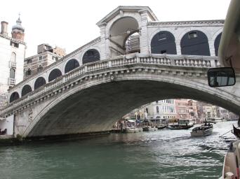 Famous Rialto Bridge on Grande Canal